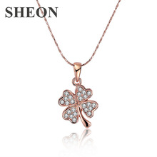 SHEON New Arrival Lucky Clovers Pendants & Necklaces For Women Summer Crystal Jewelry Fashion Necklace Collares