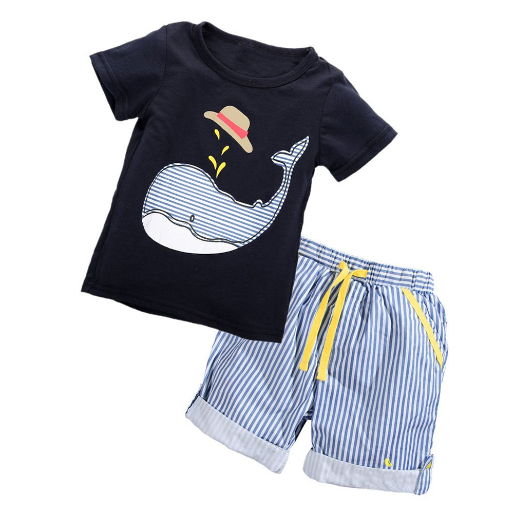Fashion Kids Baby Boys Summer Short Sleeve Tops T-shirt Pants Outfits Sets 1-7 Colour:Navy Blue Size:1-2 years