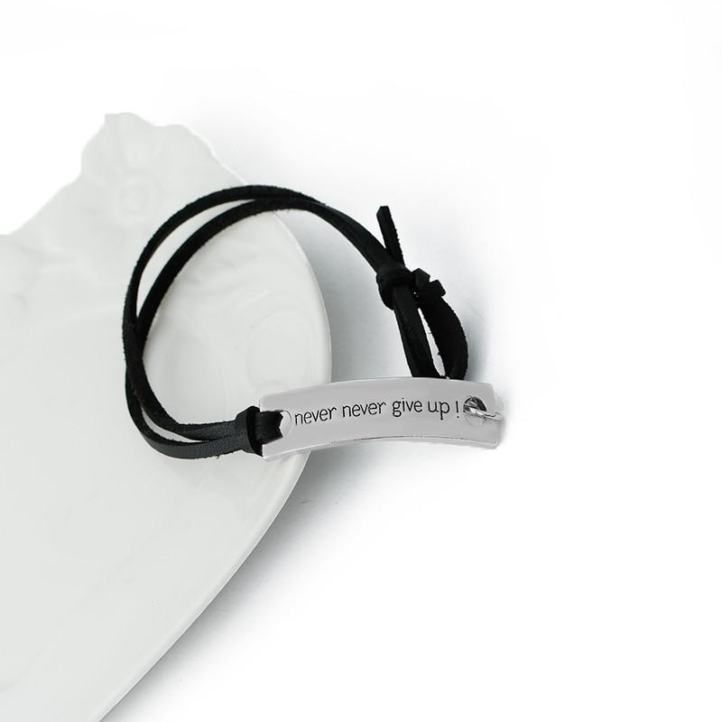 never never give up Bracelets Simple spuare Bangles Leather Velvet Bracelet Letter persistence Bracelet men Inspired excitation in Bangles from Jewelry Accessories