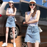 Summer Mini Skirts Woman Fashion Blue Empire Waist Female Skirts