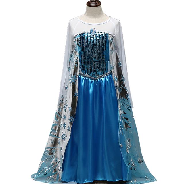 La niña de manga larga trompeta princesa cabritos del vestido de lentejuelas de moda vestido de bola para niños cosplay traje de halloween carnaval