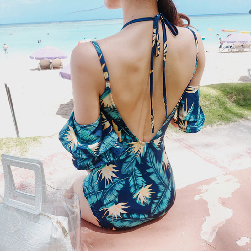 1 Piece Swimsuit One Swimsuits With Push Up Bra Women Swimwear 2019 Korea New Vintage Print Back Polyester Sierra Surfer Plus