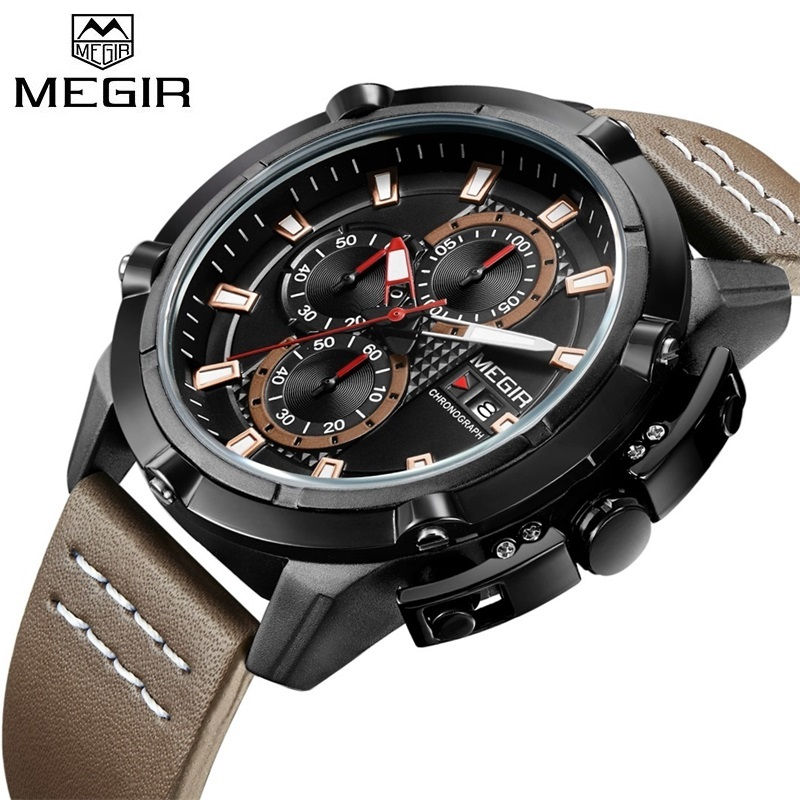 MEGIR Sports Watches Men Luxury Brand Army Military Mens Watches Clock Male Quartz Watch Relogio Masculino Horloges Mannen Saat luxury brand men s quartz date week display casual watch men army military sports watches male leather clock relogio masculino