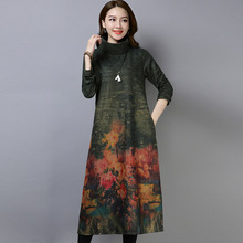 Womens woolen dress large size M-2XL 2018 autumn and winter new loose printing retro high collar quality Vestido