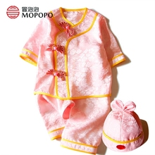 Newborn Baby Girl Clothes 100% Mulberry Silk Baby Clothing Chinese Tang Style Girl Suit half Sleeve Newborn Girl Outfits Set