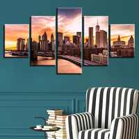 Canvas Painting Modular Art Living Room Wall Decor Prints 5 Pieces Beautiful Brooklyn Bridge City Sunset Scenery Pictures Frame
