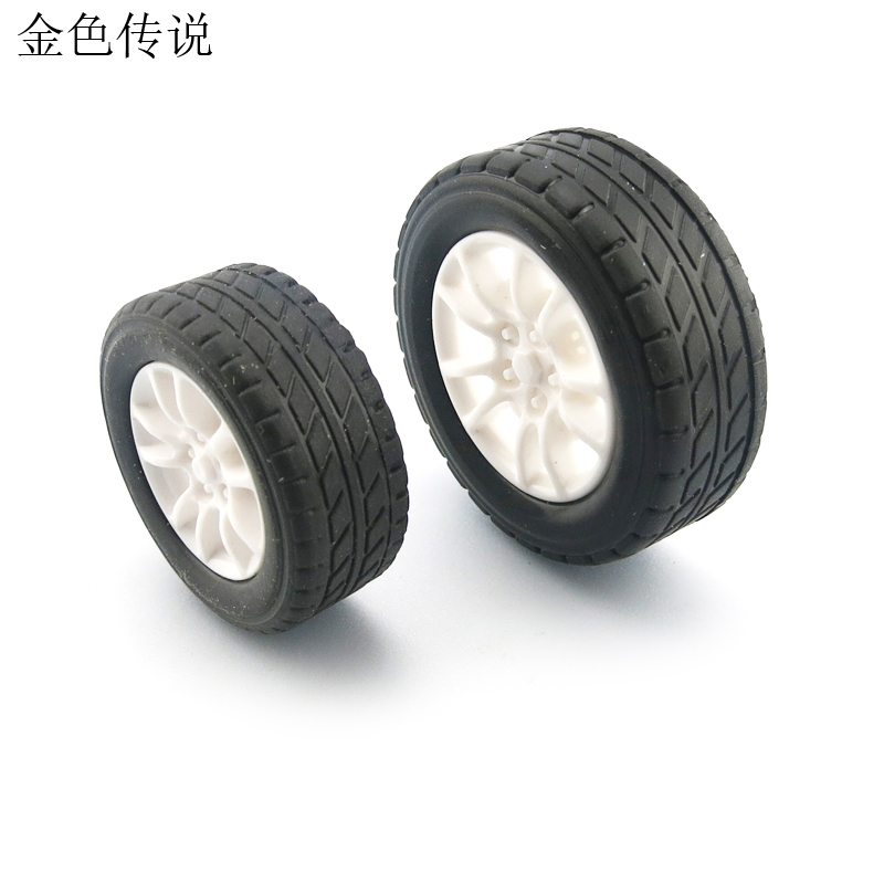 F17675 / 7 JMT 4Pcs 38mm 1:20 Rubber Tire Model Wheel DIY Robot  Accessories Toy Parts for RC Car 1 10 rubber on road racing car model replacement tire black 4 pcs