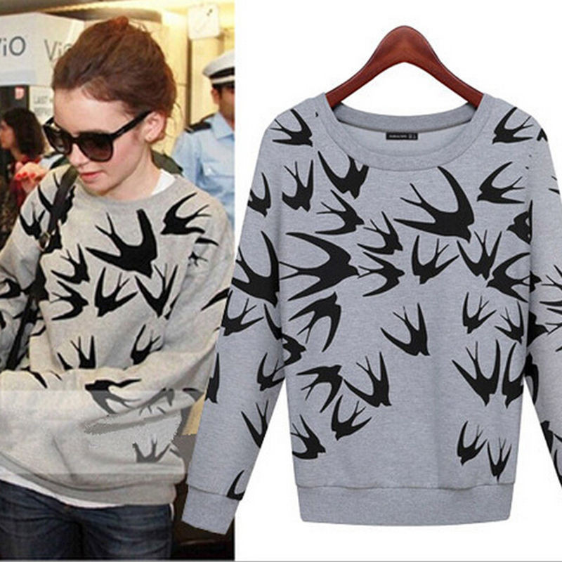 a39e72df T shirts Casual Woman printed bird Shirt Women's Swallow Print Long Sleeve  Sweater Fall New Round Collar T Shirt-in T-Shirts from Women's Clothing on  ...