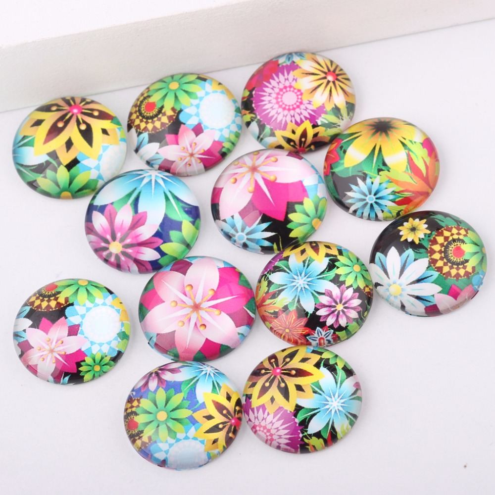 reidgaller mix candy flower photo round dome glass cabochon 10mm 12mm 14mm 18mm 20mm diy jewelry components for earrings pendant