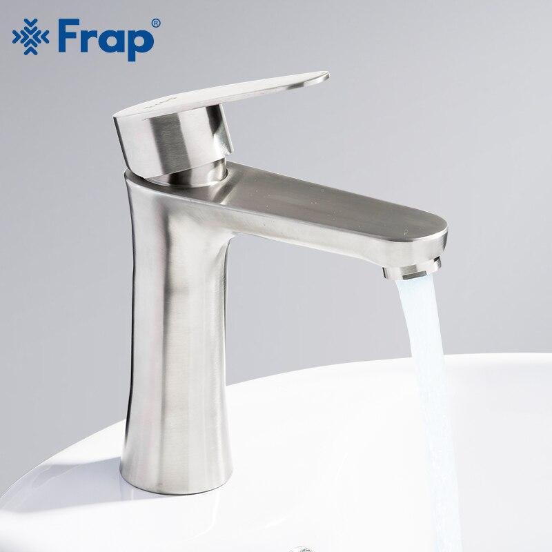 Frap novo escovado bacia banheiro torneira da pia misturadora de água quente e fria guindaste batrom torneira para banheiro f1048