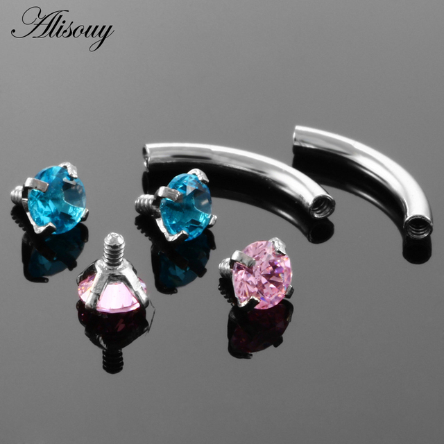 Alisouy 1pc Steel Eyebrow Rings 16G Internally Threaded Earring Tragus Crystal Eyebrow Ring Curved Barbell Piercing 9 Colors 3
