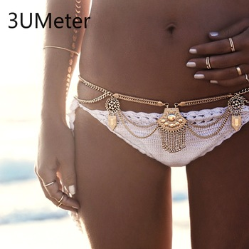 3UMeter Metal Body Chain for Women Sexy Waist Chain Bohemian Tassel Belly Chain Bikini Beach Gift Drop Shipping