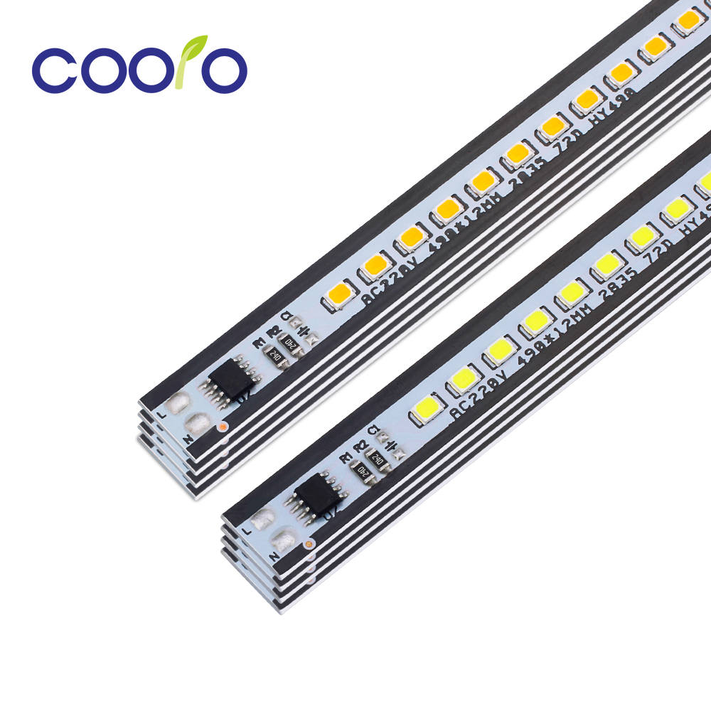 AC 220V LED Bar Light 49cm High Brightness 2835 72 LEDs/pc LED Hard Strip White Warm White 10pcs/lot