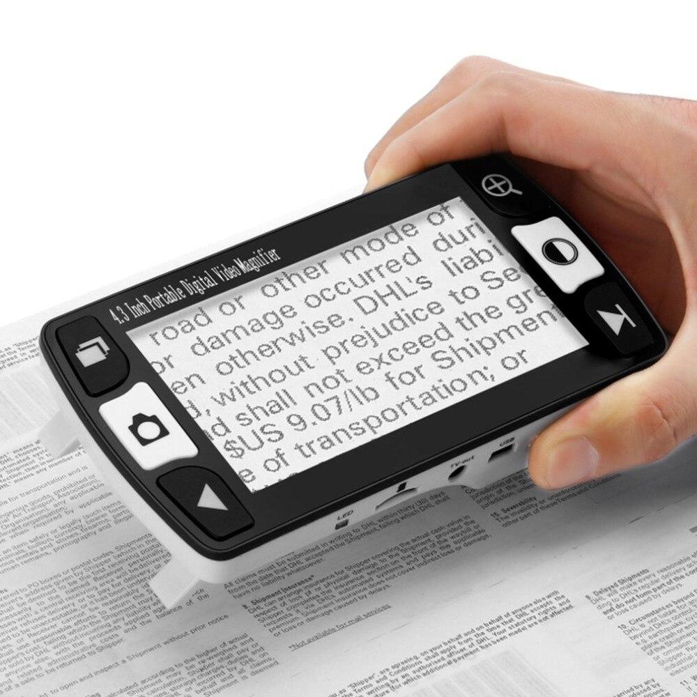 Складная Лупа Magnifing стекло 4,3 дюймов ЖК дисплей цифровой Дисплей видео с индикатором стенд Портативный мини индукции устройства