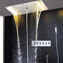 シャワー列現代レインシャワーシステムサーモスタットシャワーミキサー大滝マッサージ潅水スパパネルセットハンドシャワー