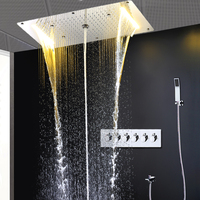 Shower Column Modern Rain Shower System Thermostatic Shower Mixer Large Waterfall Massage Douche Spa Panel Set with hand shower