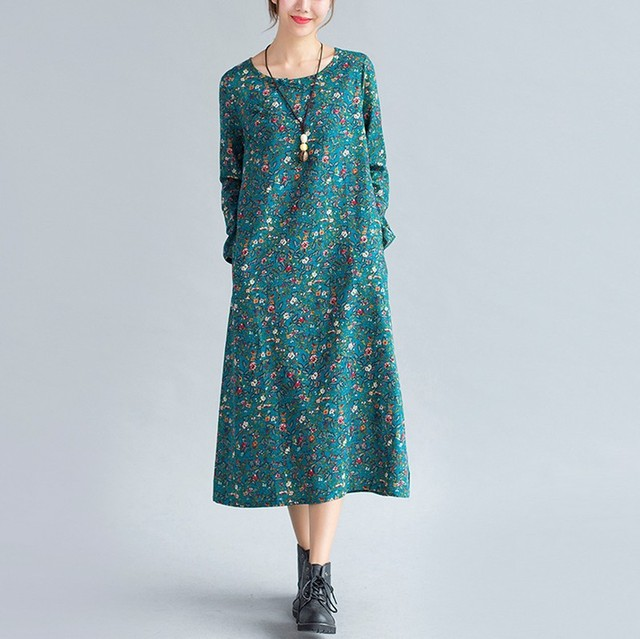Hot Style 2017 Most Popular New Product Elegant Girl Vintage Chinese Style Dress Temperament Floral Women Cotton And Linen Dress