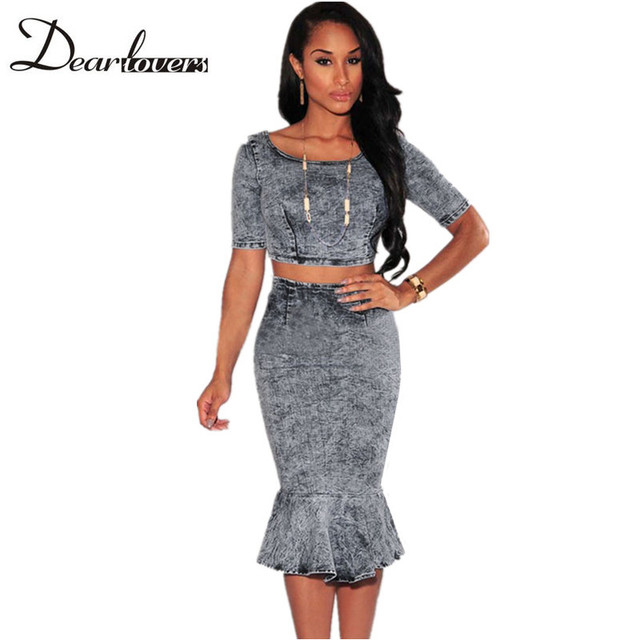 Dear lovers Summer women Clothing two piece Acid Wash Denim Short Sleeve Crop top and Mermaid Pencil Skirt Set LC60473