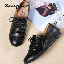 Zanpace Women's Shoes 2019 Spring Autumn Genuine Leather Pregnant Shoes Women Casual Peas Shoes Big Size 41 Platform Shoes Women