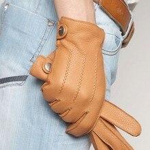Fashion 2017 Luxury Men Deerskin Gloves Button Wrist Solid Genuine Leather Male Winter Driving Glove Free Shipping Em012wr
