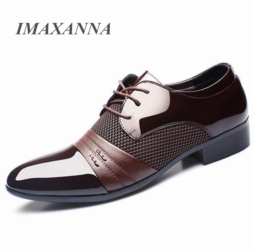 IMAXANNA Men Leather Shoes Business Flat Black Brown Breathable Summer Autumn Dress Shoes Plus Size 38-48