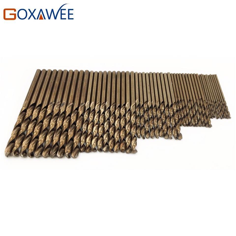GOXAWEE 50 Pcs/ensemble HSS Co Torsion Foret 1/1. 5/2/2.5/3mm Bois Bois métal Puissance De Forage Outil Forets Ensemble Chaude