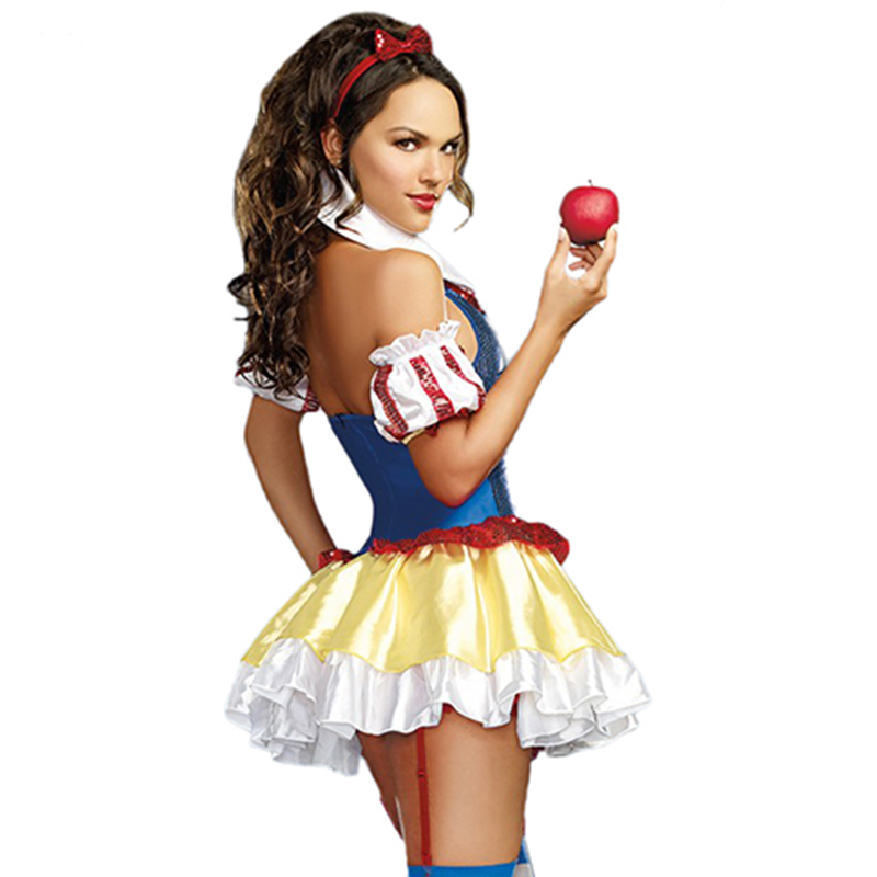Donna Biancaneve Costume Adulto Per Le Donne Carnevale Sexy Sequin  Principessa Fancy Dress Up Partito Fiabe Costumi Cosplay in Donna  Biancaneve Costume ... 0c0ddef325f