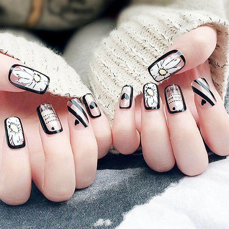 Fashion Flat Fake Nails Clear Acrylic False Nail Tip Full Cover DIY ...