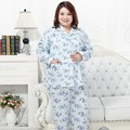 Frete Grátis 2016 Mulheres Primavera Outono Pijama de Algodão Sleepwear Conjunto de Manga Comprida calças de Alta Qualidade Tamanho Grande 5XL Homewear