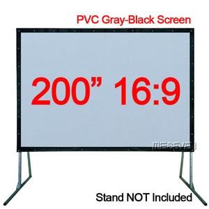 Мягкий передний проекционный экран 200 дюйма 16:9 из ПВХ серого и черного цвета для домашнего кинотеатра, кемпинга, школы и офиса и т. д.
