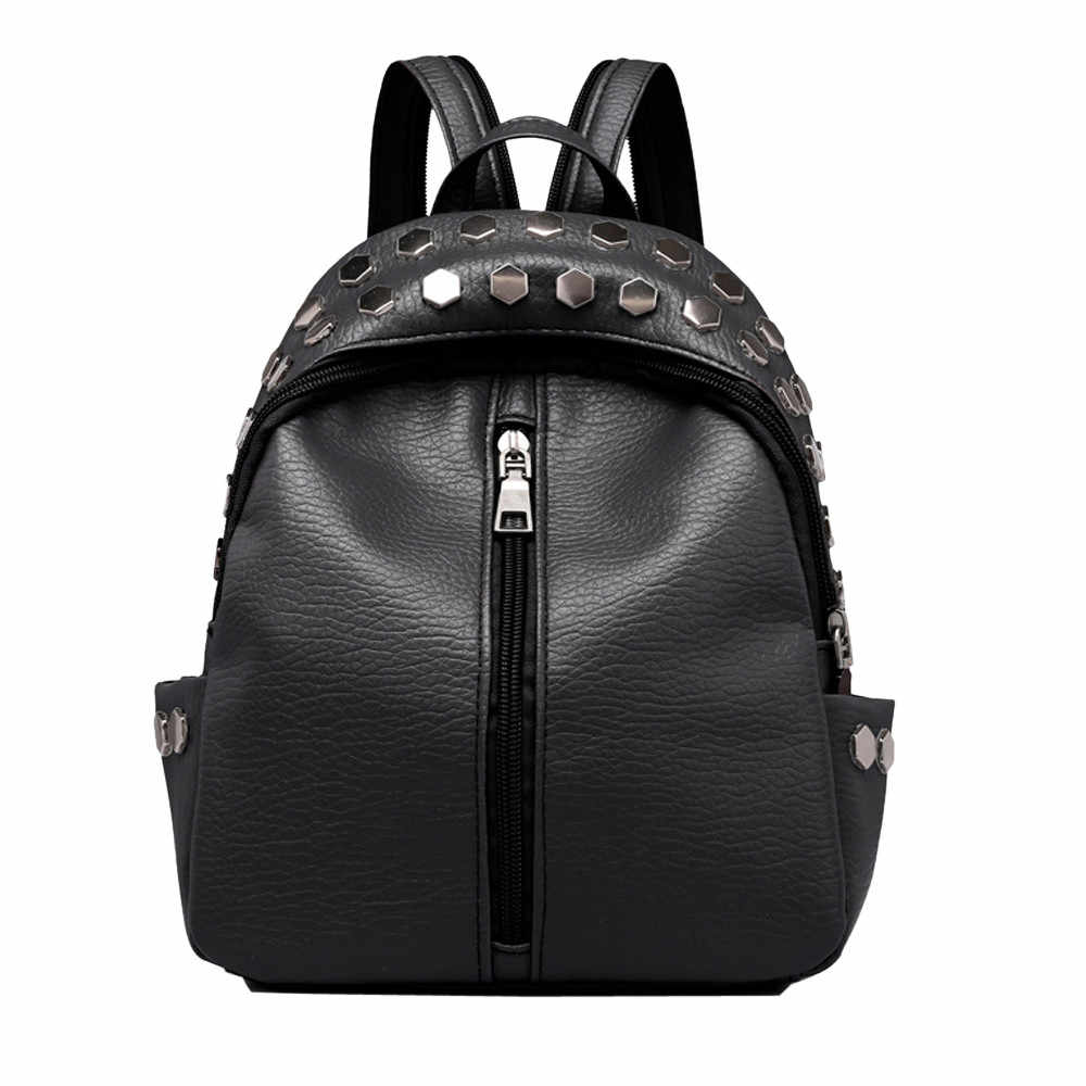2020 Women's Leather Backpack Vintage Women's Studded Leather Backpack Satchel Travel School Rucksack Large Capacity Travel#JY