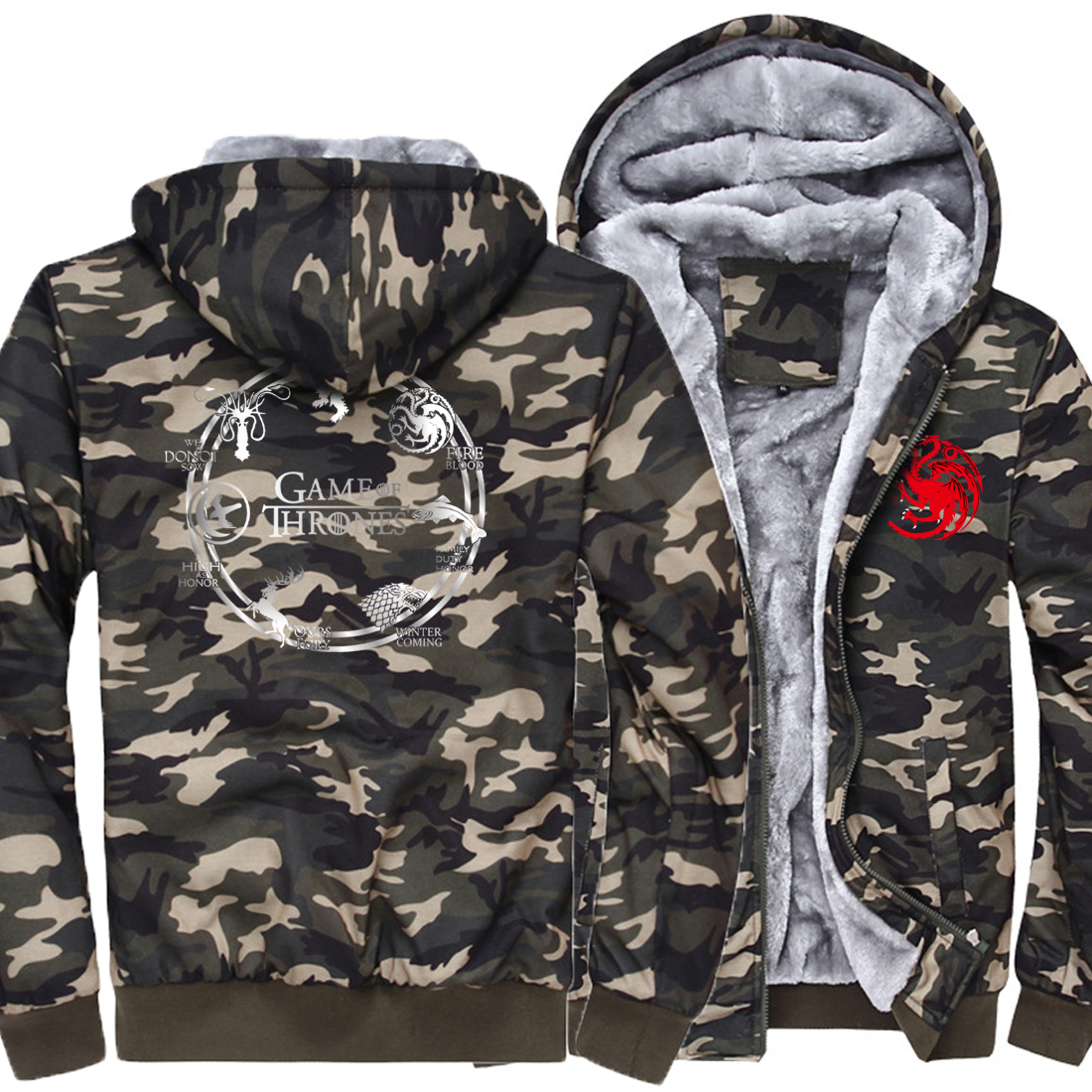 Game of Thrones Hipster Men Hoodies New Arrival 2019 Winter Sweatshirts House Stark Fire & Brand-Clothing Blood Hoody Harajuku