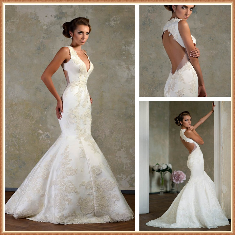 2016 amazing lace backless wedding dresses satin plus size wedding 2016 amazing lace backless wedding dresses satin plus size wedding dresses mermaid style vestido de noiva sereia sexy querida in wedding dresses from ombrellifo Image collections
