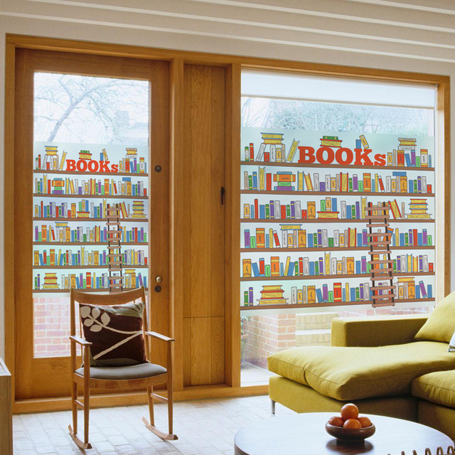 DIY 3D Bookshelf Glass Film Window Sticker Transparent Opaque Kid Room Decoration For Bedroom Art Home