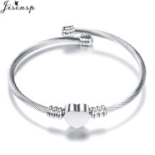 Jisensp Stainless Steel Heart Ladies Bangles and Bracelets Europe American Style Silver Charm Jewelry Cuff Bracelet Mother Gift(China)