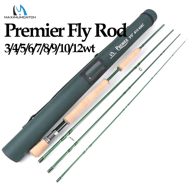 Maximumcatch Premier 3/4/5/6/7/8/9/10/12 WT Fly Rod Carbon Fiber Fly Rybářský prut s Cordura Tube Fly Fishing Rod