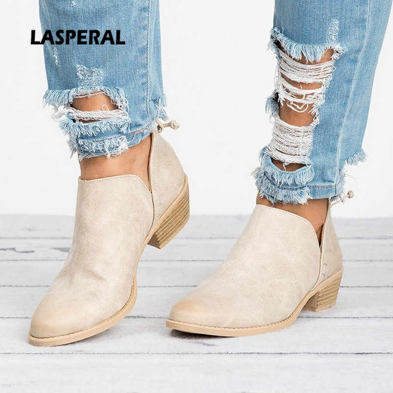 LASPERAL New Autumn Women Boots Female Square Heel Slip on Women High heels Shoes Pointed Toe Casual Ladies Fashion Shoes Women