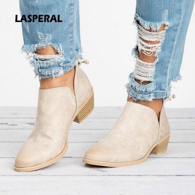 LASPERAL Novas Mulheres de Outono Botas Femininas Botas de Deslizar sobre As Mulheres sapatos de salto Alto Sapatos de Salto Quadrado Dedo Apontado Ocasional Das Senhoras Sapatos Da Moda mulheres
