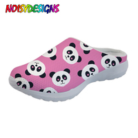 NOISYDESIGNS Sandals Casual Brand Cute Animal Panda Cartoon Print Women's Sandals Flat Home Shoes Woman Slippers for Ladies Mesh