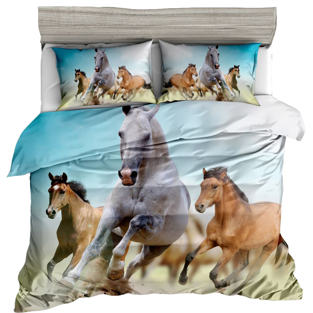 Reactive Printed Bedding Set Animal Leopard Tiger Horse Lion 3D Designs Print Twin Full Queen Size Pillowcase Duvet Cover Sets