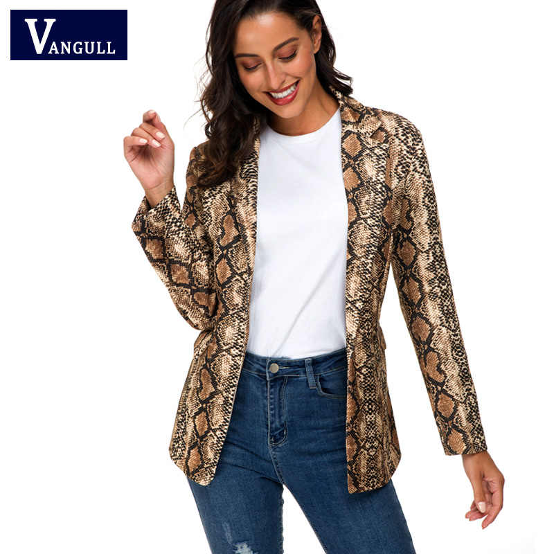 Vangull 2019 spring Women Snake Print Jacket Office Lady Leisure Long Jacket Long Sleeve Cardigan Coat High Fashion Streetwear