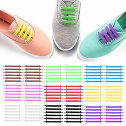 12 шт./компл. творческих шнурки унисекс Для женщин Для мужчин спортивные кроссовки шнурки без завязок Эластичный Силиконовый обуви кружева