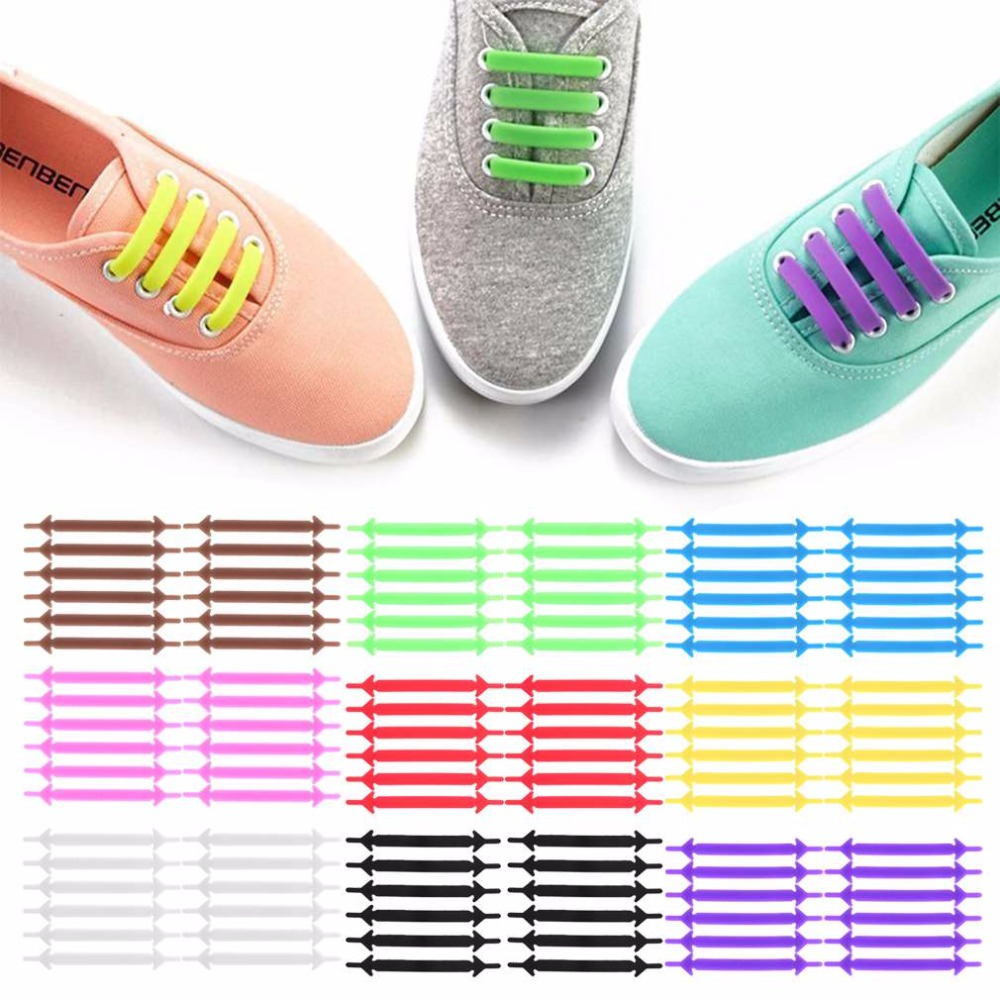 No Tie ShoelacesWomen Men Uni Elastic Silicone Shoelaces Rubber Shoelace 12Pcs/Set Creative