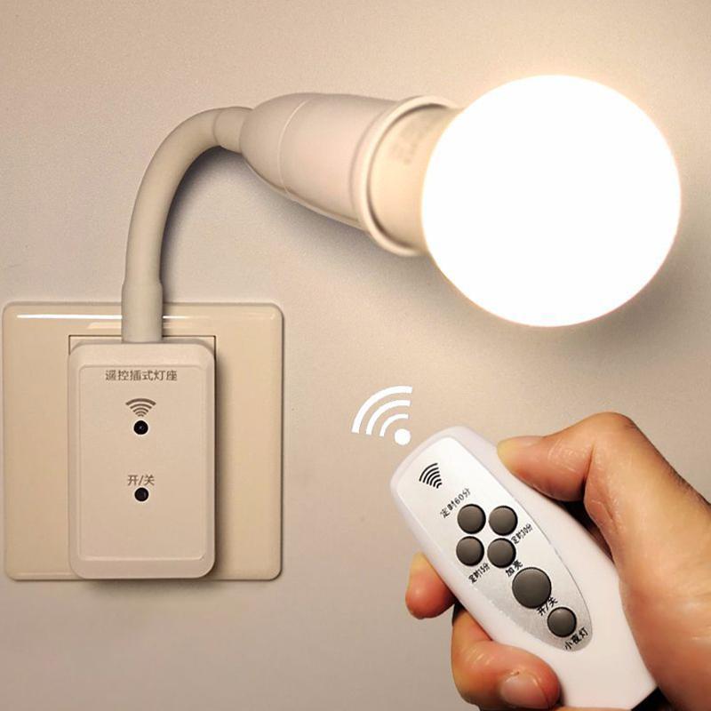 LED Bulb Remote Control Plug Lamp Holder Wireless Smart Light Bulb Base Socket Cap Switch For Night Light Bedside Lamp
