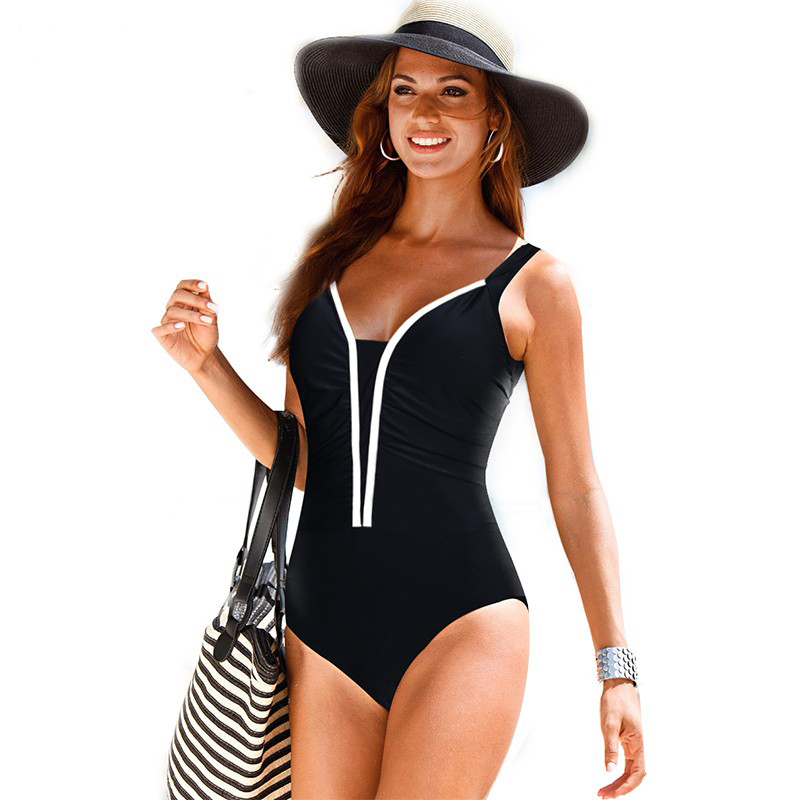 One Piece Swimsuit Women Swimwear Female Retro Large Size ...
