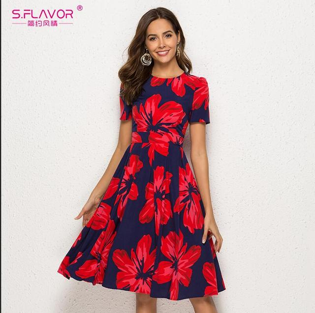 Women Summer Floral Print A Line Dress Vintage Short Sleeve Casual Dress O Neck Party Retro Vestidos