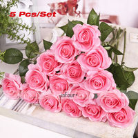 5Pcs Light Pink Home Decor Gifts Real Touch Flowers Rose Silk Flowers Latex Artificial Flower For