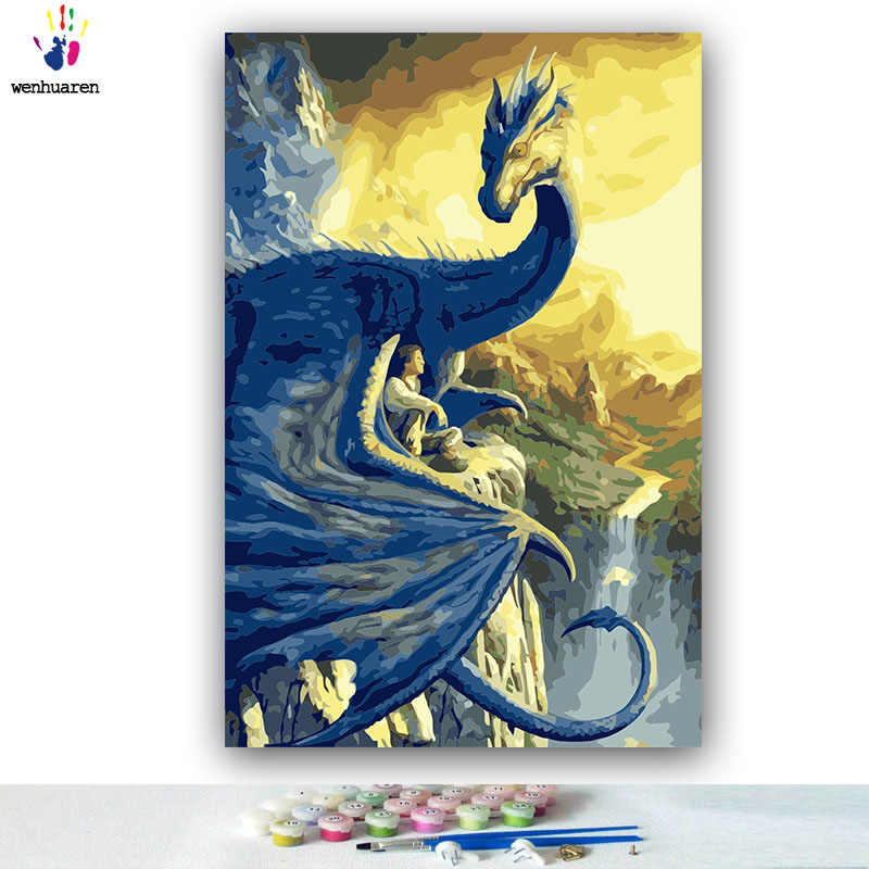 DIY colorings pictures by numbers with colors penguin Turtle swan Pterosaur picture drawing painting by numbers framed Home