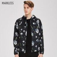 Markless Men Autumn Thin Jacket Hooded Black Printing Jackets Men Casual Slim Fit Jackets Polyester 2018 Fashion Coat JKA7103M