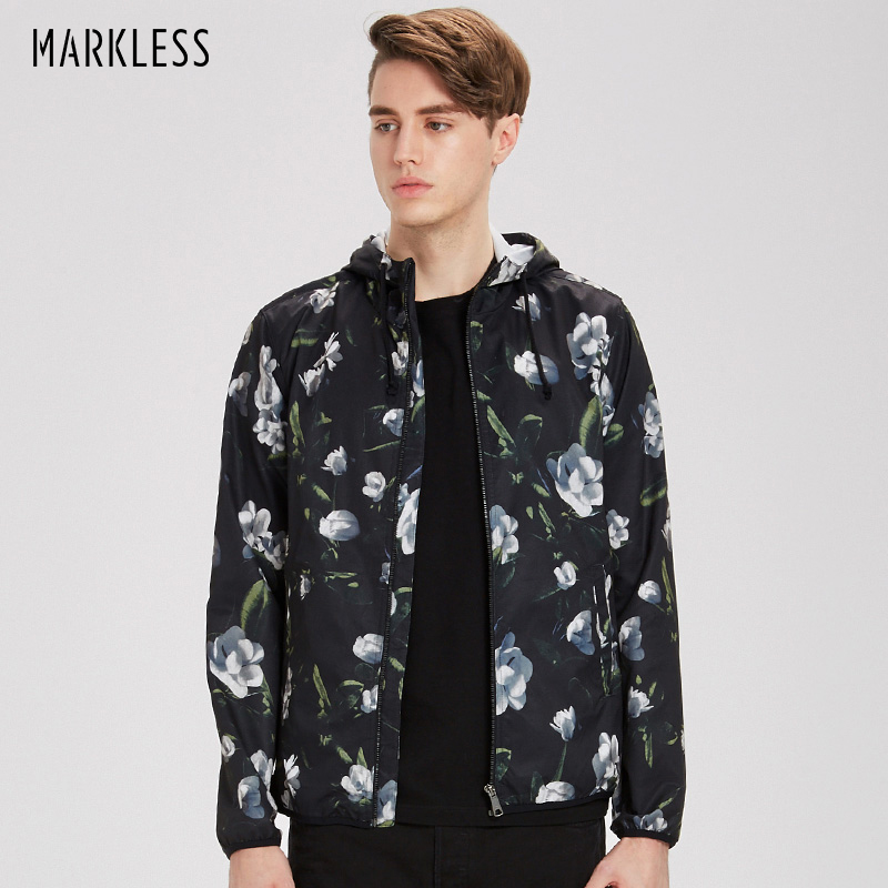 Markless hombres otoño chaqueta delgada con capucha negro impresión Chaquetas hombres casual slim fit Chaquetas poliéster 2018 moda abrigo jka7103m